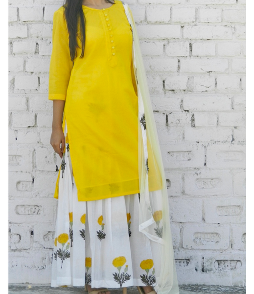 Yellow Mogra Sharara Set