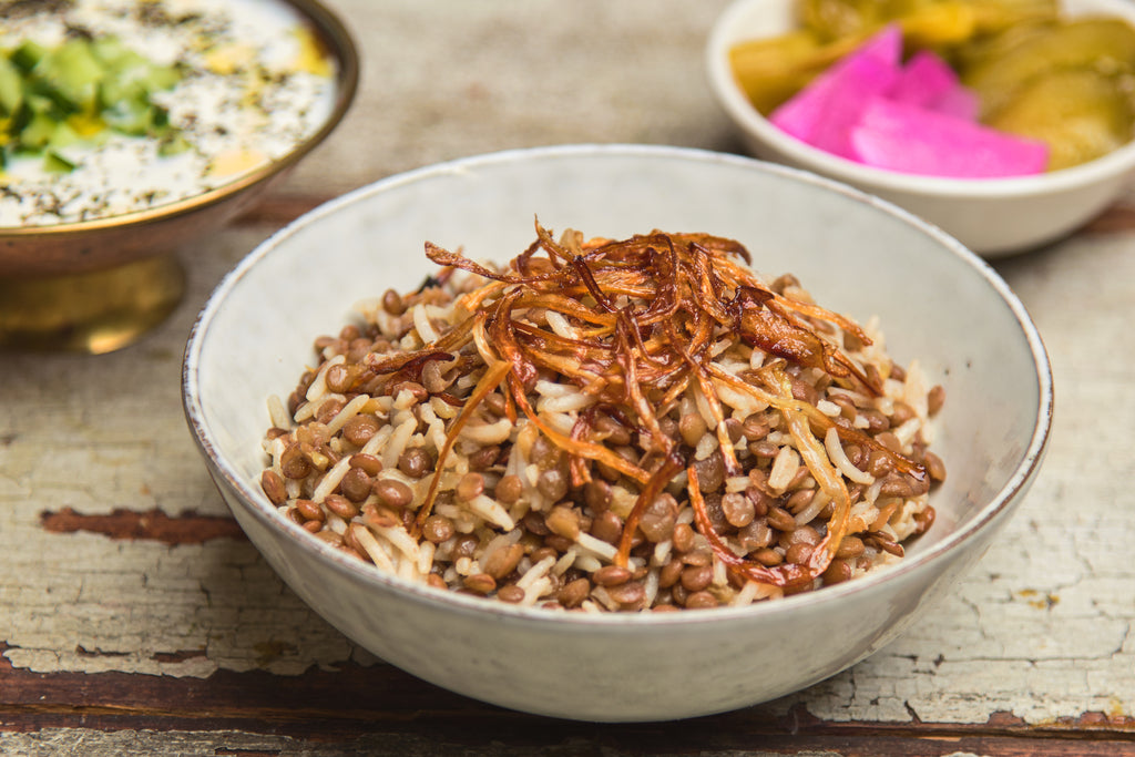 Moudardara - Lentil and rice pilaf with caramelised onions