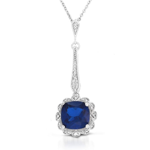10MM Cushion Created Sapphire and Diamond Pendant in Sterling Silver
