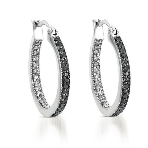 1/10CTW Black & White Diamond Inside Out Hoop Earrings in Sterling Silver