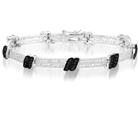 1.00CTW Black and White Diamond Bracelet in Sterling Silver