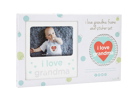 I Love Grandma Baby Belly Sticker and Sentiment Keepsake Photo Frame Gift Set, White