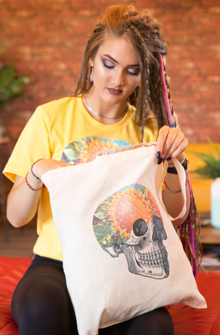 Sunflower Skull Natural Tote Bag