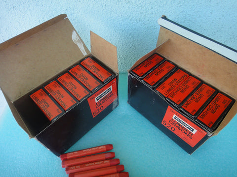 12 Dozen Dixon 520 Paper Covered Red Lumber Crayons