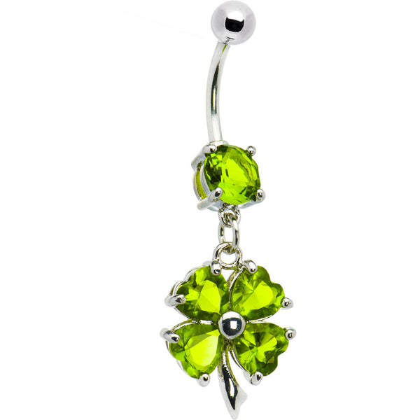 Green CZ Shamrock Clover Dangle Belly Ring