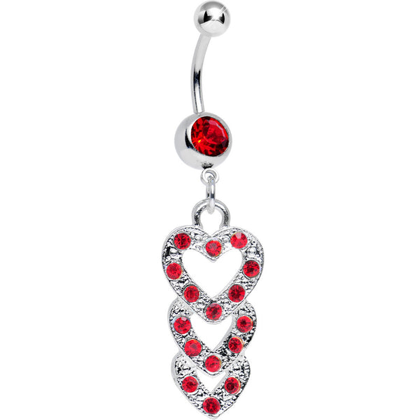 Red Gem Triple Trickle Heart Dangle Belly Ring