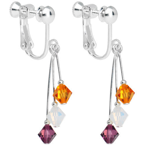Purple Gold White Crystal Sports Team Clip On Earrings