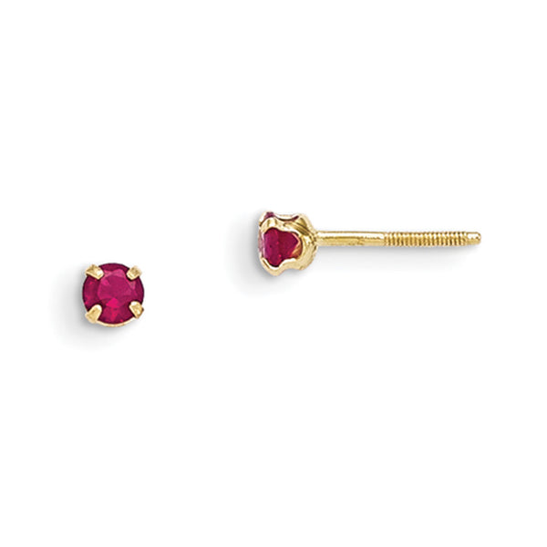 14kt Yellow Gold 3mm Synthetic Ruby Screwback Girls Stud Earrings