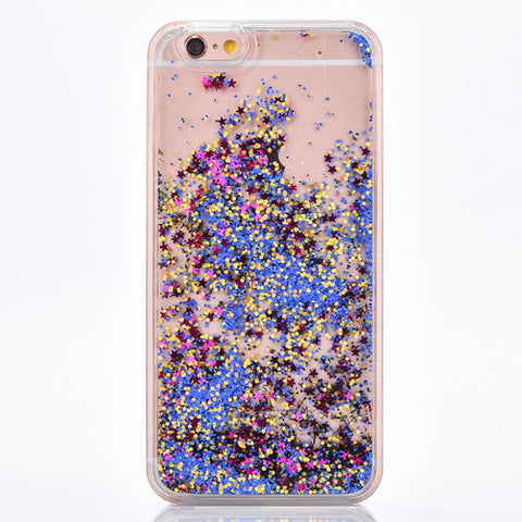 Bright Blue and Gold Glitter with Purple Star Cascading Confetti Case for iPhone 7 7 Plus