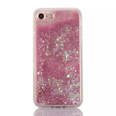 Cascading Iridescent Confetti and Pink Glitter Sand Case for iPhone 7