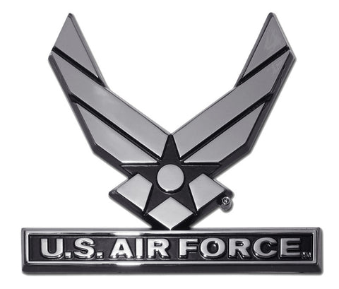 U.S. Air Force Chrome Metal Auto Emblem (Wings) USAF Licensed