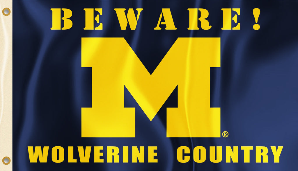 Michigan Wolverines 3' x 5' Flag (Beware Wolverine Country) NCAA