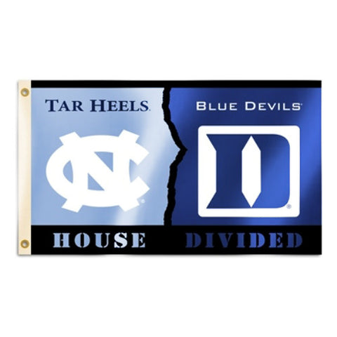 Duke Blue Devils North Carolina Tar Heels 3' x 5' House Divided Flag (NCAA)