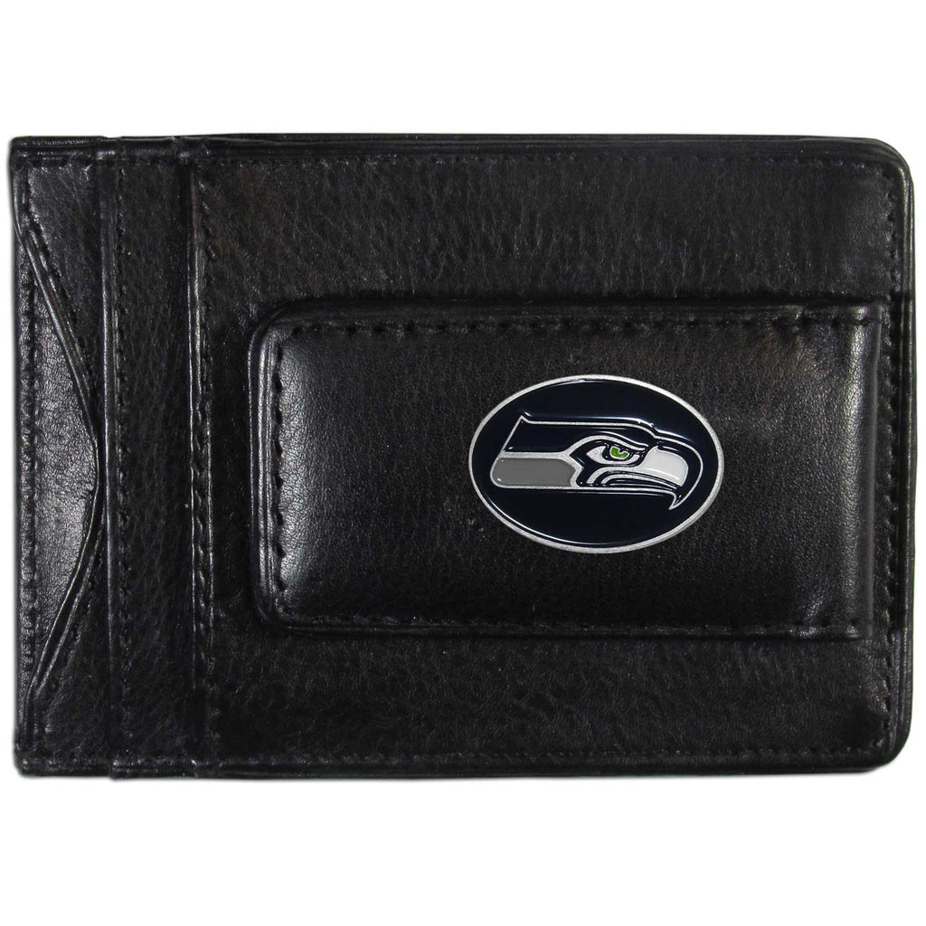 Seattle Seahawks Fine Leather Money Clip (NFL) Card & Cash Holder