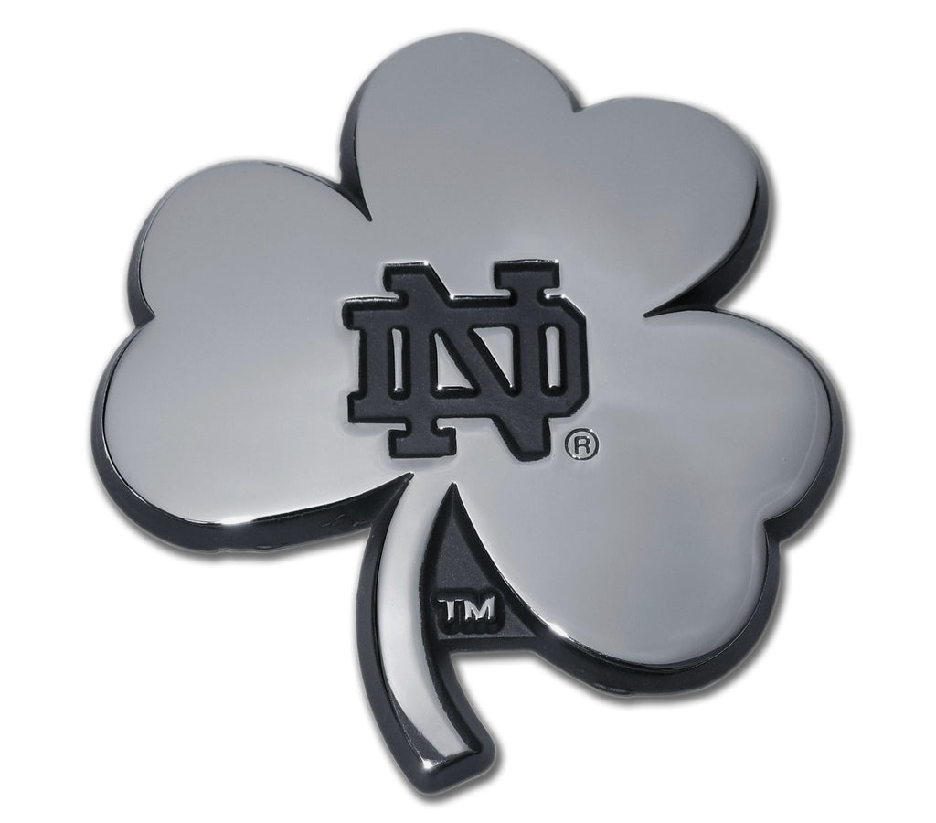 Notre Dame Fighting Irish Chrome Metal Auto Emblem (Shamrock) NCAA