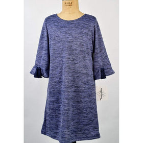Funtasia Girls Apparel 7 / Blue Maggie Breen Too Fur-Ever Girl's Blue Sweater Knit Bell Sleeve Dress