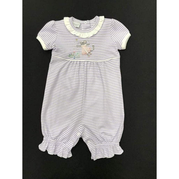 Squiggles by Charlie Girls Apparel 6/9 Month / Lilac Squiggles by Charlie Lilac Stripe Romper with Mouse