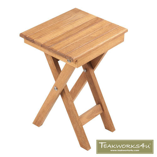 Scissor Leg Folding Teak Shower Bench from Teakworks4u