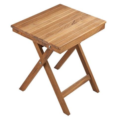 "Folding Teak Accent Bench/Table (16"" x 14"" x 18"")"