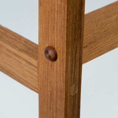 Assembly detail on the Rigid Teak Shower Bench