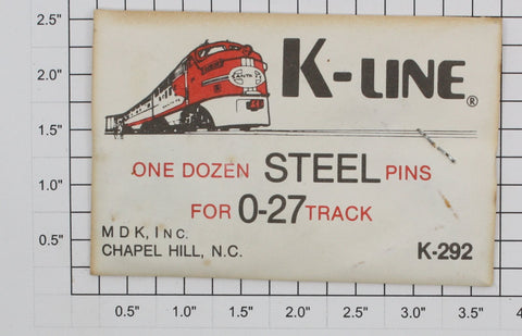 K-Line K-292 O27 Steel Track Pins  (Pack of 12)