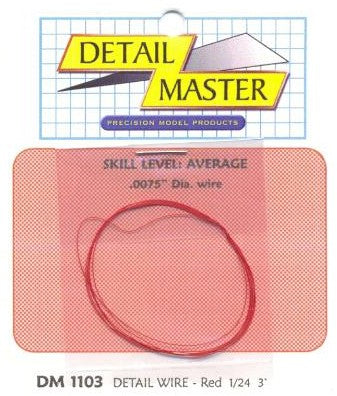 "Detail Master/Modeltyme Design 1103 1:24-1:25 2ft Detail Wire .0075""- Red"