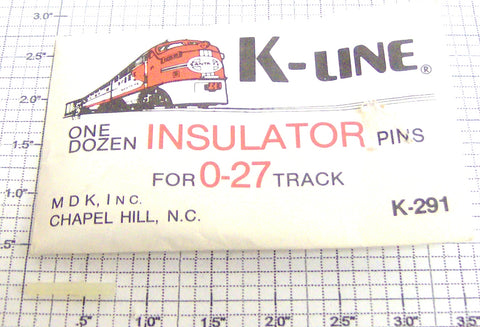 K-Line K-291 O27 Track Insulator Pins/12-Envelope Is Torn
