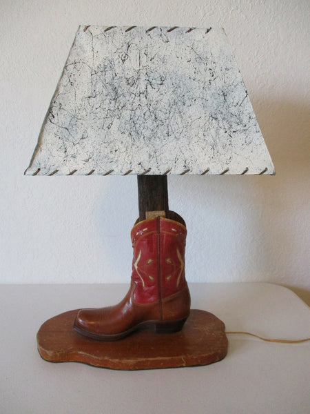 10431 Vintage 1940's Cowboy Boot Lamp with Parchment Shade