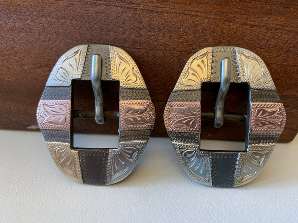 "10746 Pair New Handmade DON ROGERS ⅝"" Spur Strap or Headstall Buckles"
