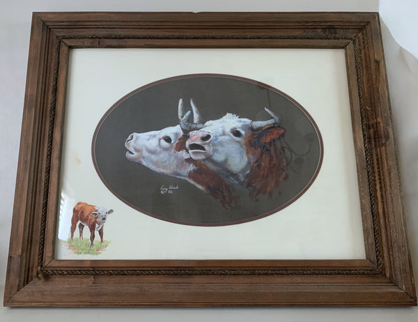 10760 Original Framed Gary Ward Pastel Western Art Hereford Cows and Calf