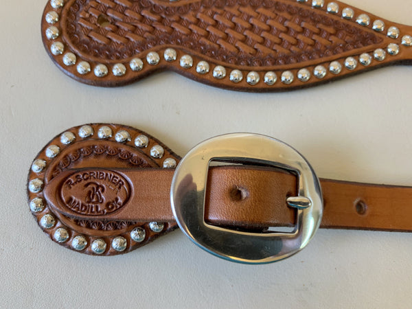 10729 New Handmade RACHEL SCRIBNER Basket Stamped Spur Straps with Nickel Spots