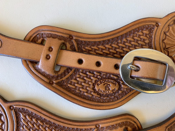 10731 New Handmade RACHEL SCRIBNER Pass Through Stamped Spur Straps