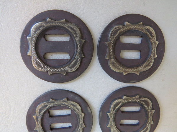 8842 Set of Four New Handmade Silver Mounted Chap Saddle Slotted Conchos