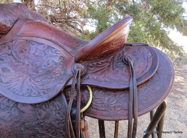 6149 Vintage 1930's Handmade Floral Carved  Ladies Saddle with Cowgirl Carved Fenders