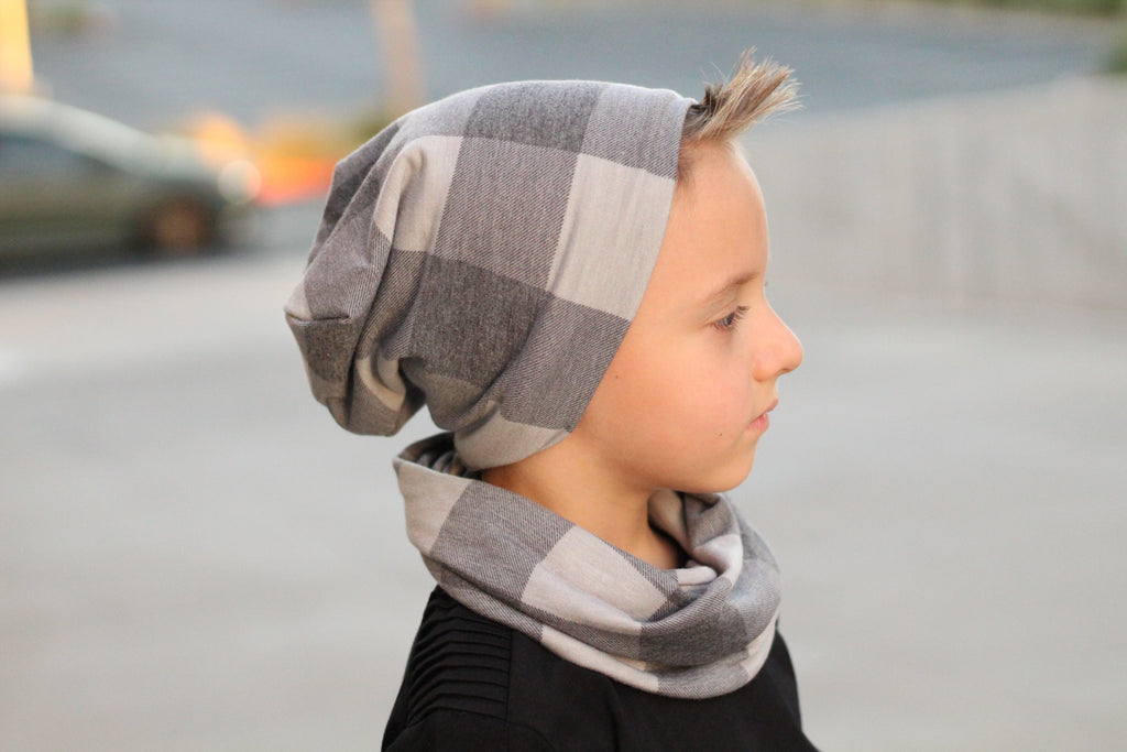 Gray Plaid Beanie