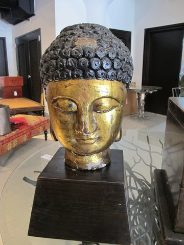 Wooden Buddha Head with Gold Leaf