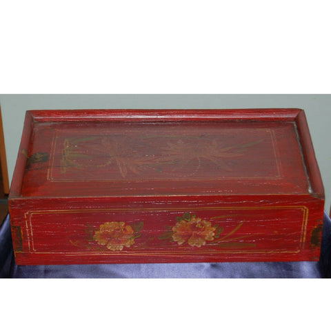 Chinese Red Sliding Top Wooden Painted Box