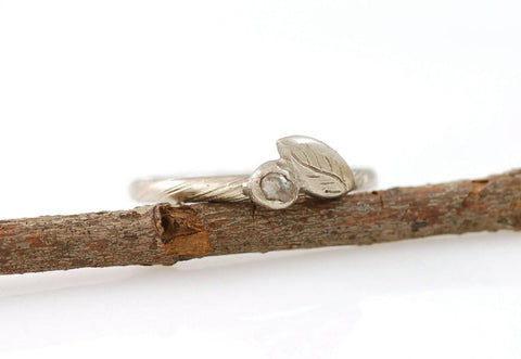 Vine and Leaf Ring with Rough Diamond in 14k Palladium White Gold  - size 5.5 - Ready to Ship - Beth Cyr Handmade Jewelry