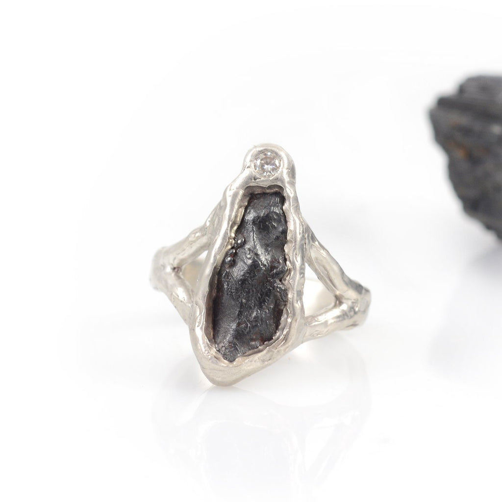 Meteorite Ring with Moissanite in Palladium Sterling Silver - size 7.25 - Ready to Ship - Beth Cyr Handmade Jewelry