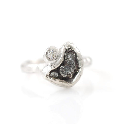 Meteorite Ring with Moissanite in Palladium Sterling Silver - Made to Order - Beth Cyr Handmade Jewelry