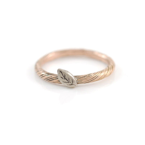 Autumn Leaf - Vine and Leaf Ring in 14k Rose and Palladium White Gold - size 7 - Ready to Ship - Beth Cyr Handmade Jewelry