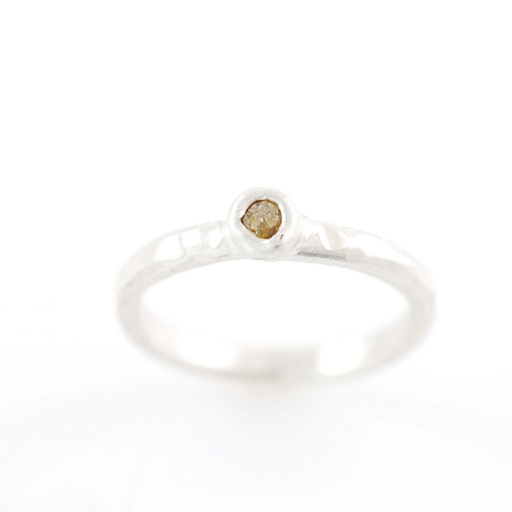 Rough Diamond Stacking Ring in Palladium Sterling Silver - size 6 1/4 - Ready to Ship - Beth Cyr Handmade Jewelry