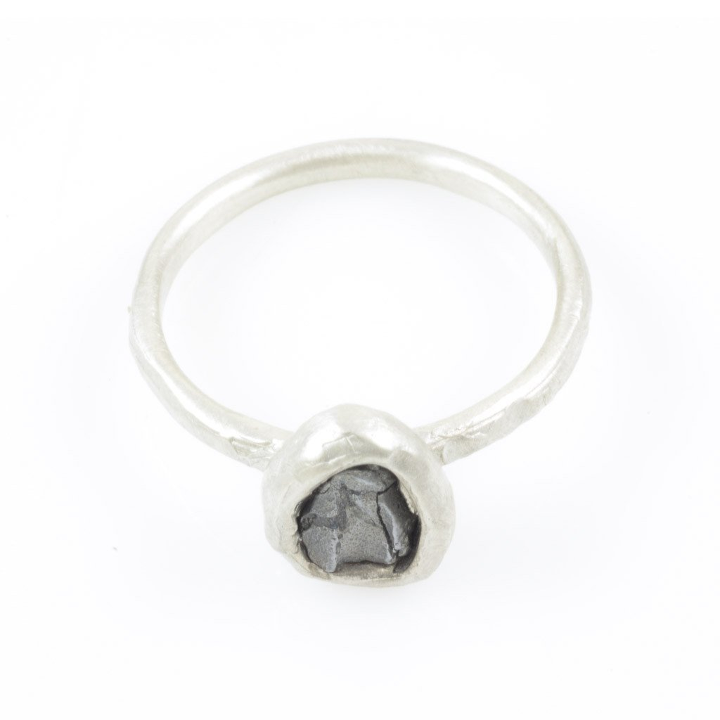 Single Meteorite Ring in Palladium Sterling Silver - size 10 - Ready to Ship - Beth Cyr Handmade Jewelry