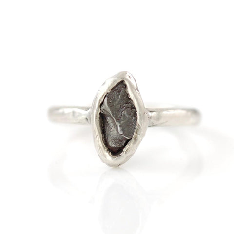 Single Meteorite Ring in Palladium Sterling Silver - Made to Order - Beth Cyr Handmade Jewelry