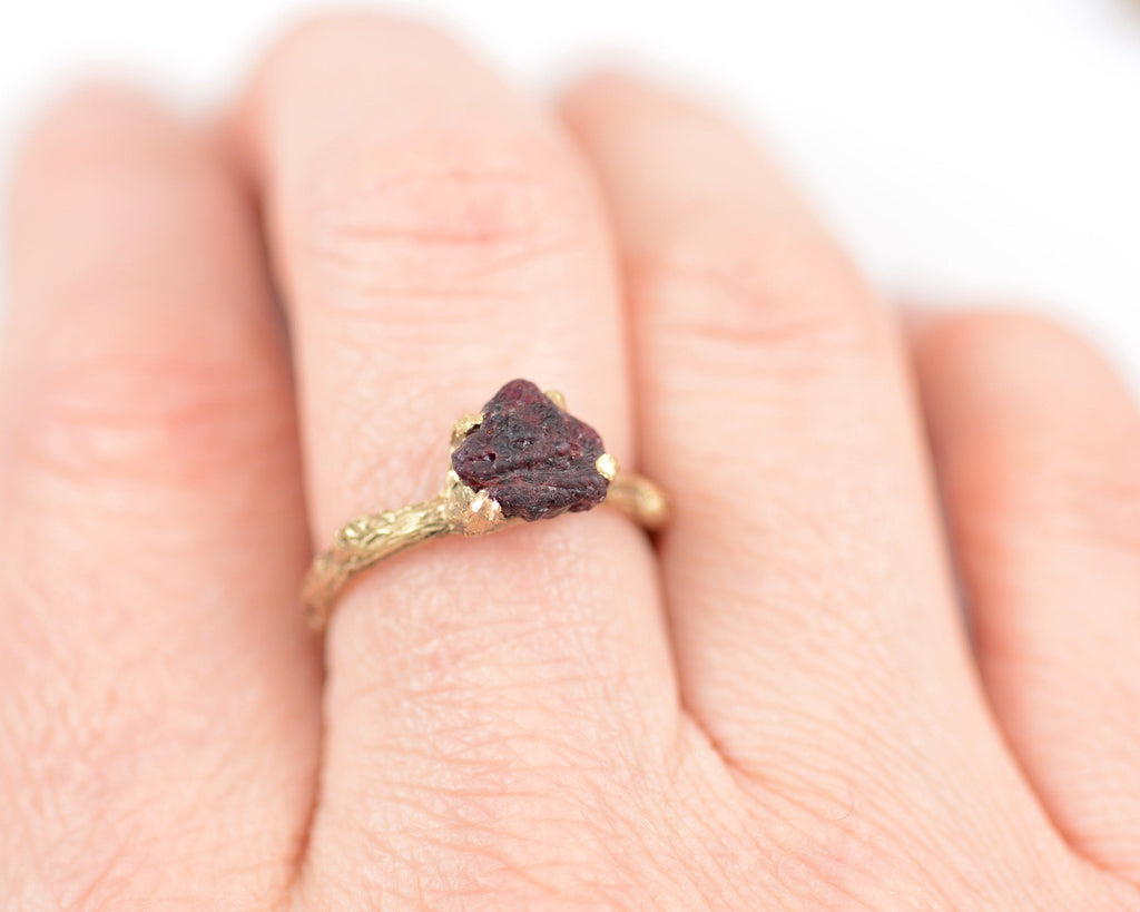 Twig Ring with Rough Ruby in 14k Yellow Gold - Size 6 - Ready to Ship - Nature Inspired Engagement Ring