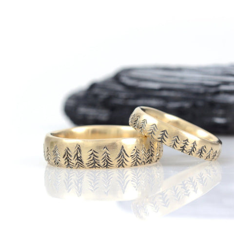 Tree Line Wedding Rings in Yellow Gold - Made to Order