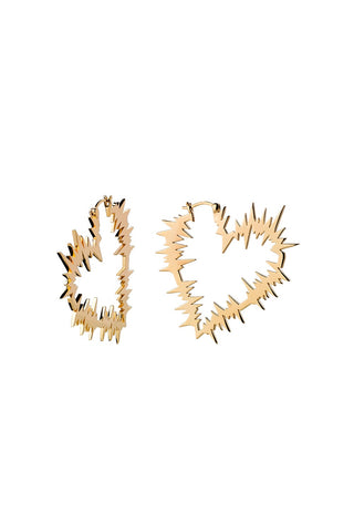 Karen Walker Electric Heart Hoop Earrings - Hard Gold Plate