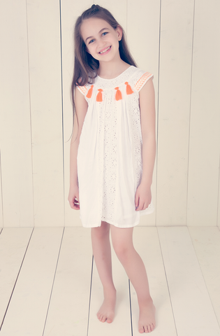 Pom Pom Dress - Orange