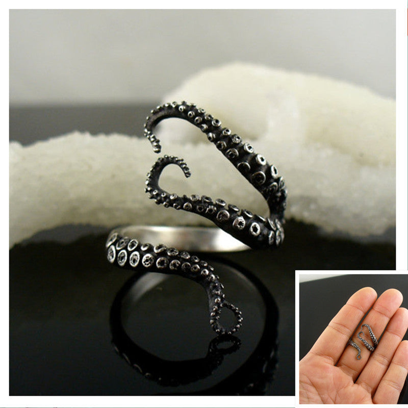Octopus Ring Silver Plated In Adjustable Size - Tentacle Ring