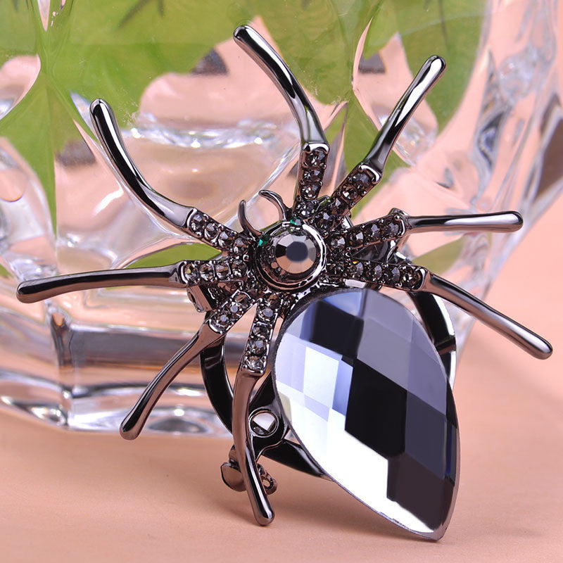 Gray Spider Brooch Steampunk Pin